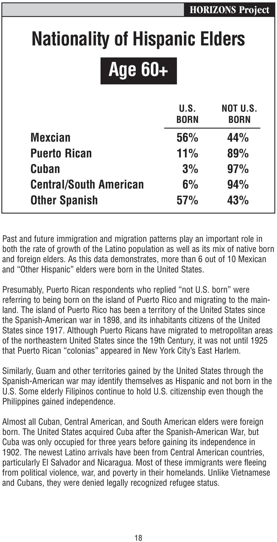BORN Mexcian 56% 44% Puerto Rican 11% 89% Cuban 3% 97% Central/South American 6% 94% Other Spanish 57% 43% Past and future immigration and migration patterns play an important role in both the rate