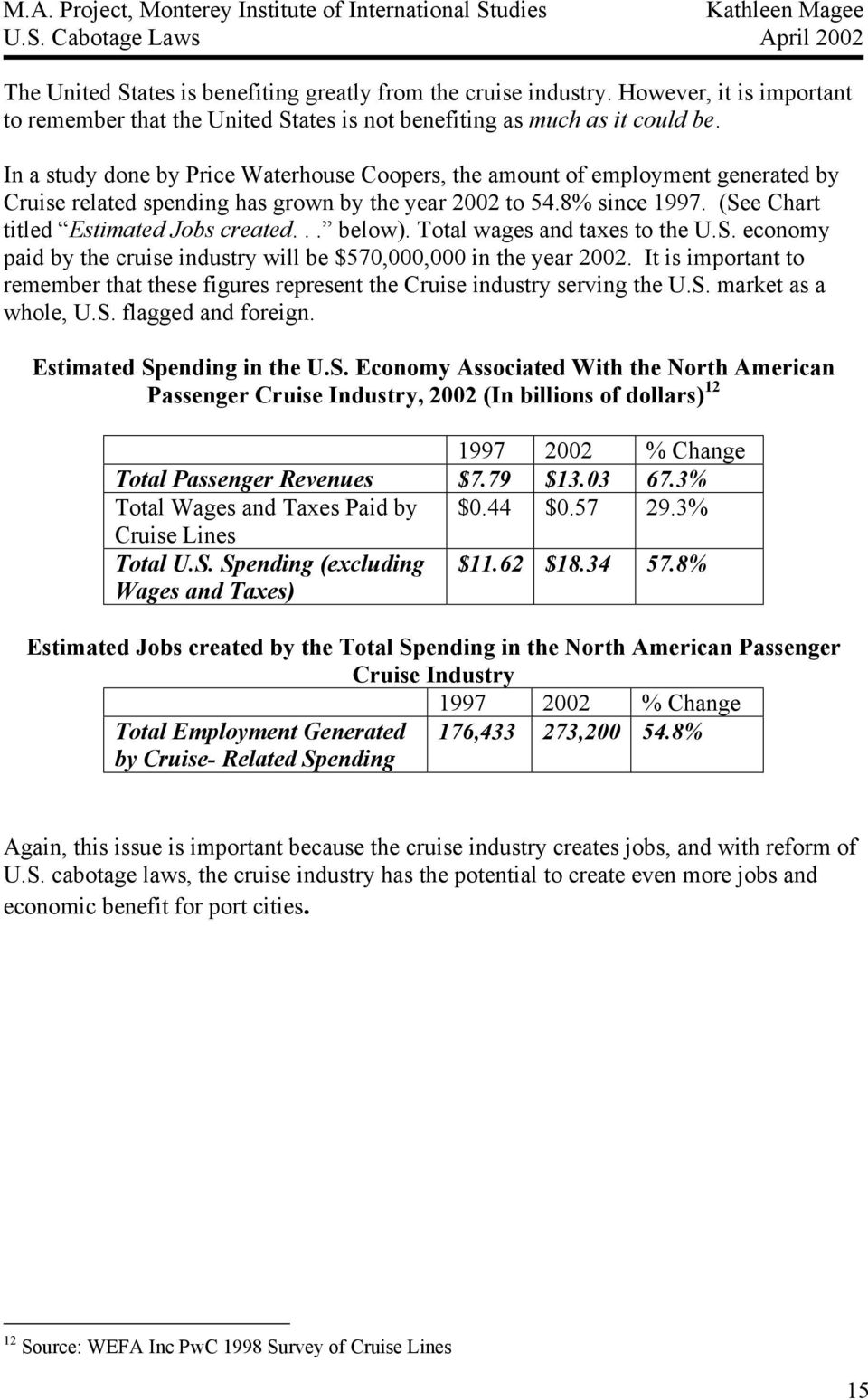 .. below). Total wages and taxes to the U.S. economy paid by the cruise industry will be $570,000,000 in the year 2002.