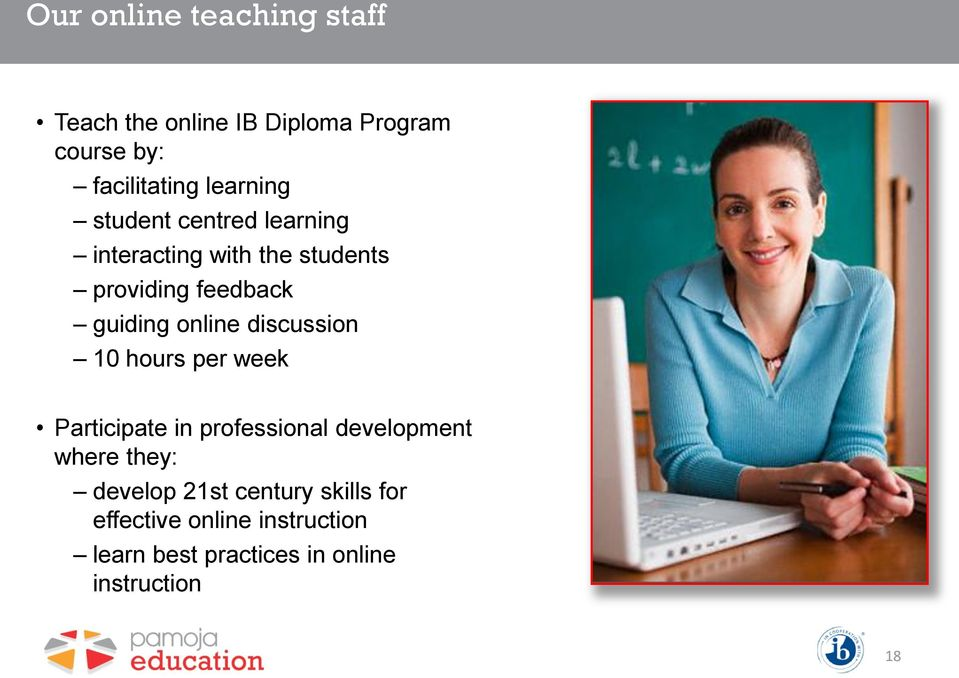 online discussion 10 hours per week Participate in professional development where they: