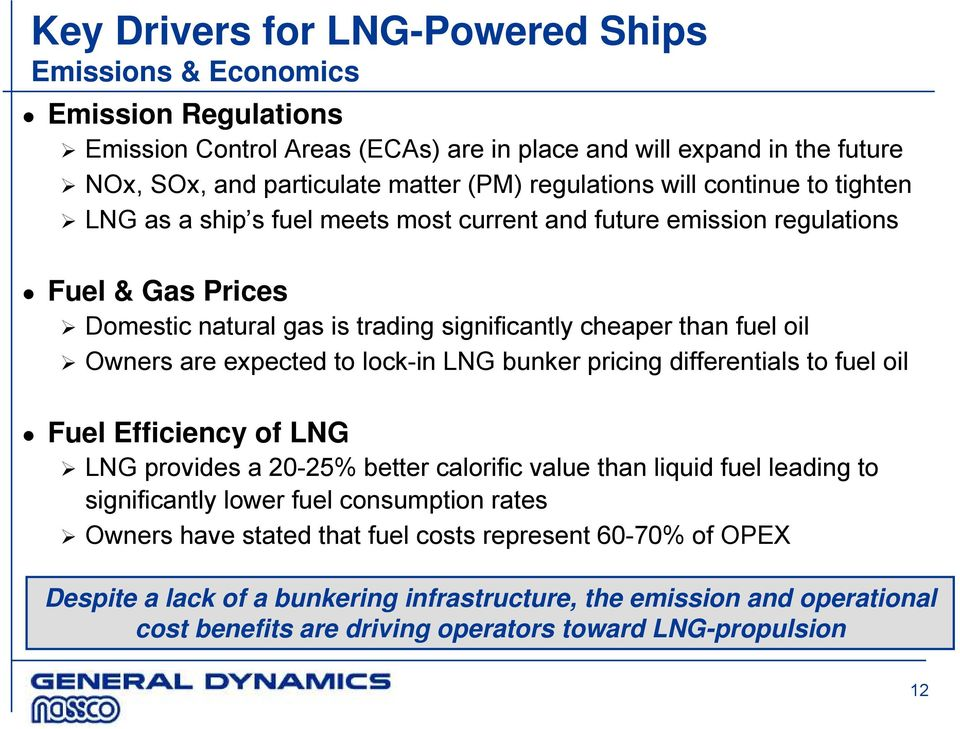 Owners are expected to lock-in LNG bunker pricing differentials to fuel oil Fuel Efficiency of LNG LNG provides a 20-25% better calorific value than liquid fuel leading to significantly lower fuel