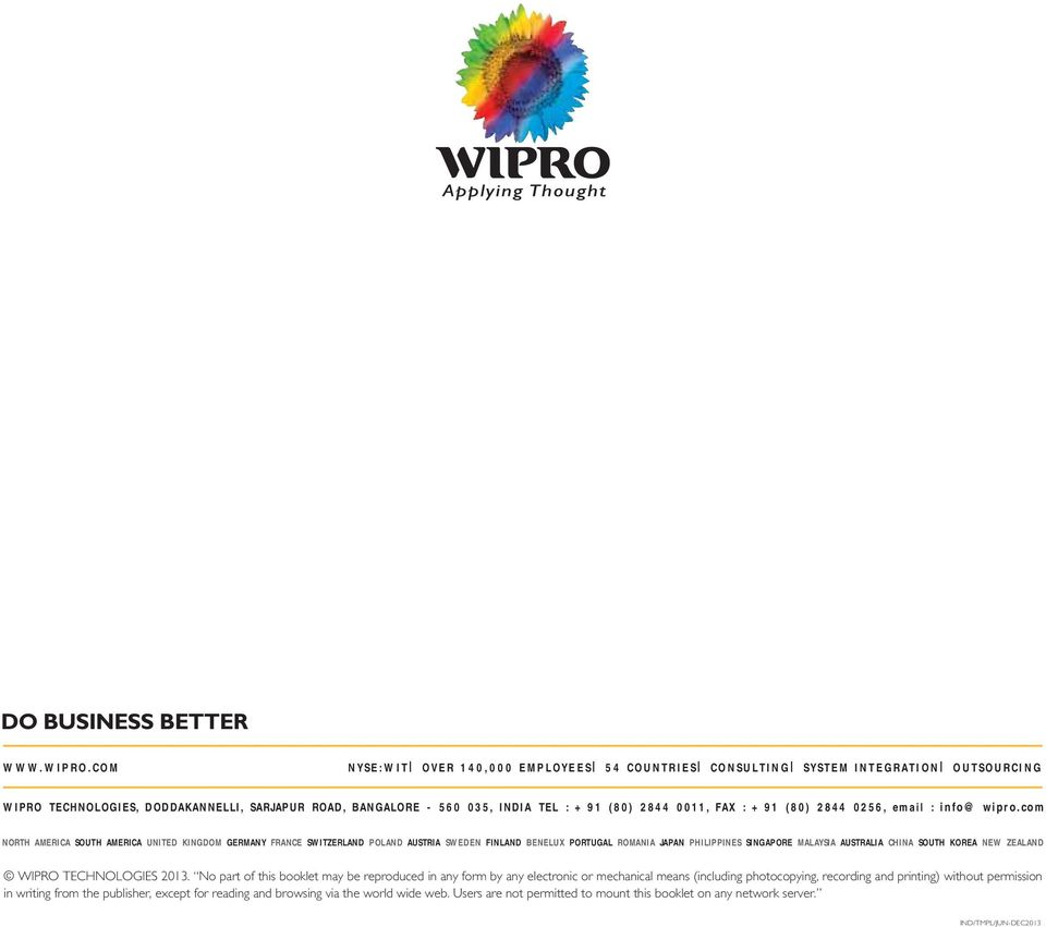 +91 (80) 2844 0256, email : info@wipro.