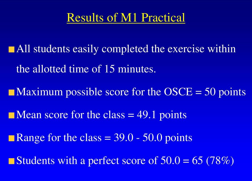 Maximum possible score for the OSCE = 50 points Mean score for the