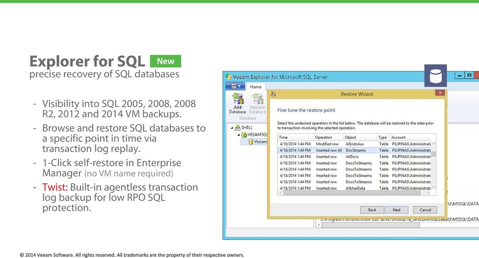 - Browse and restore SQL databases to a specific point in time via transaction log replay.
