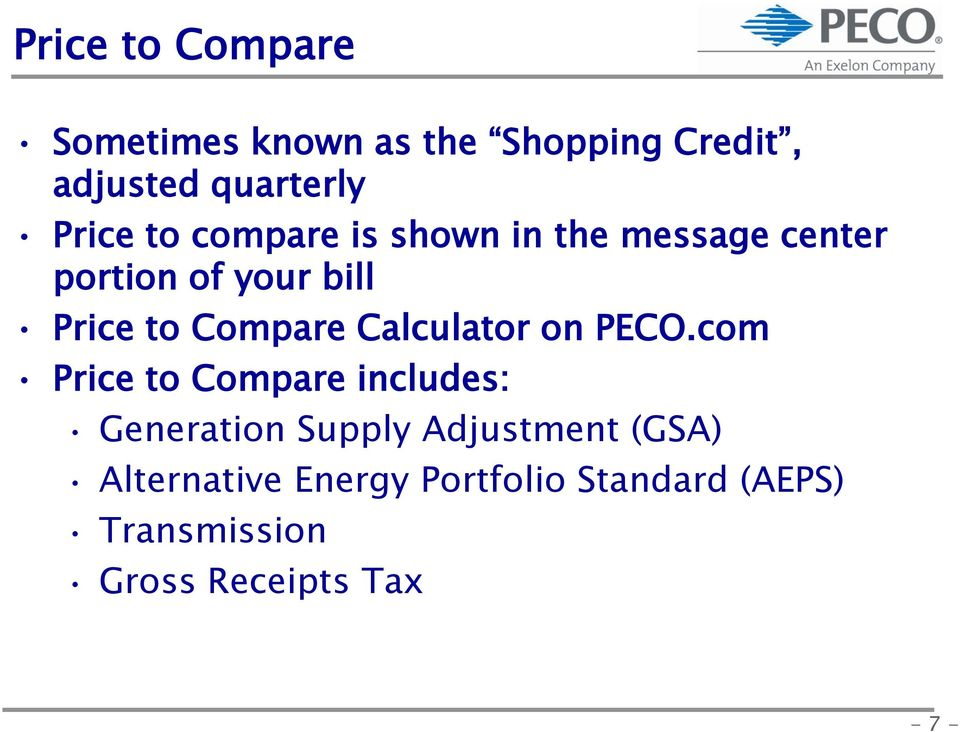 Calculator on PECO.