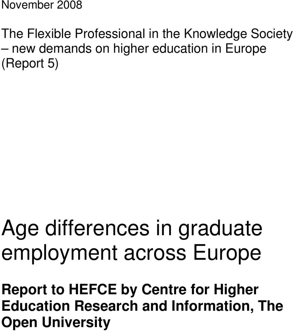 differences in graduate employment across Europe Report to HEFCE