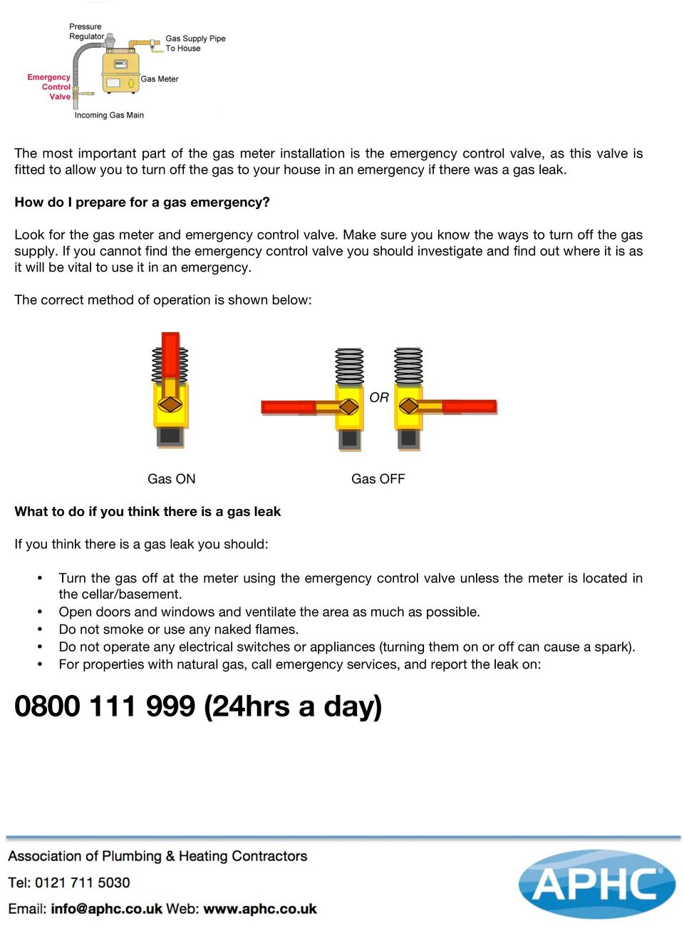 If you cannot find the emergency control valve you should investigate and find out where it is as it will be vital to use it in an emergency.