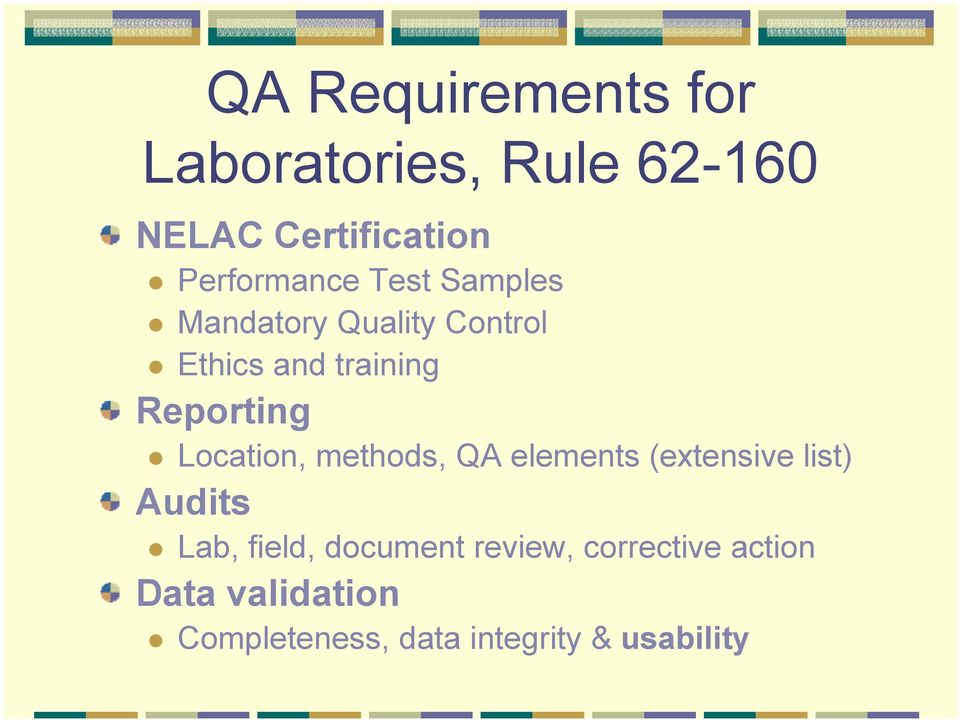 Reporting Location, methods, QA elements (extensive list) Audits Lab, field,