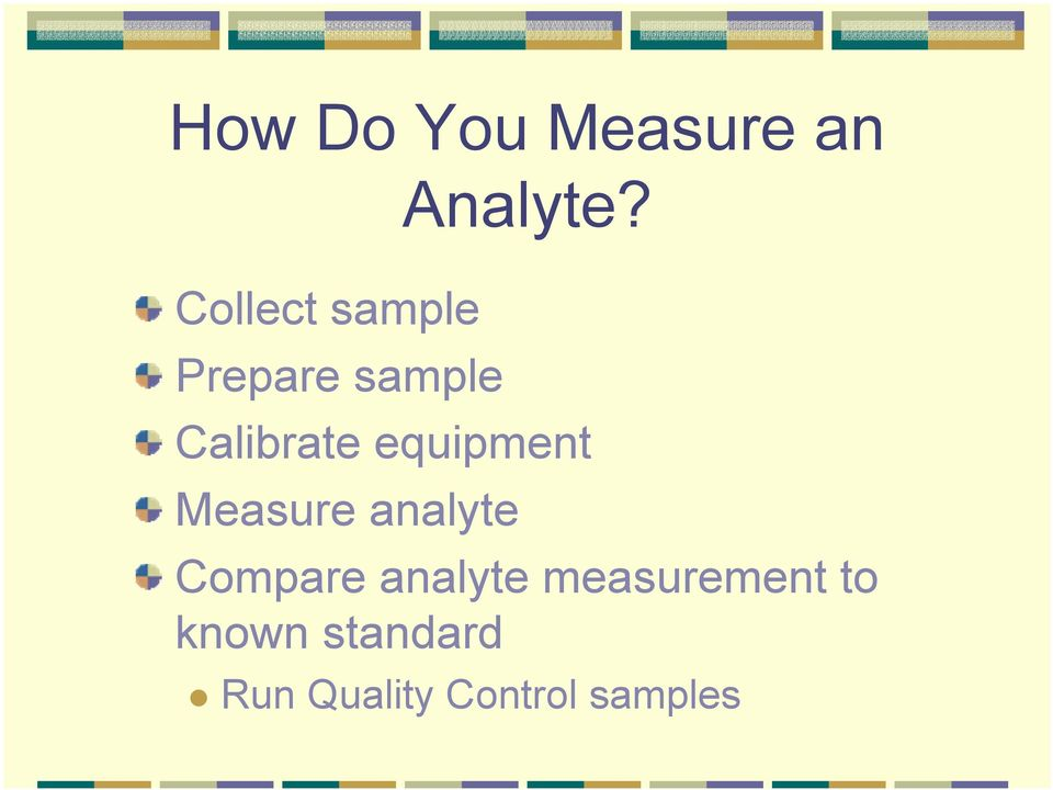 Calibrate equipment Measure analyte