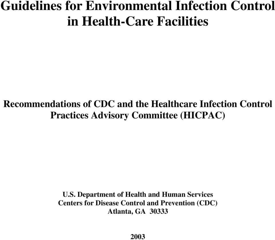 Practices Advisory Committee (HICPAC) U.S.