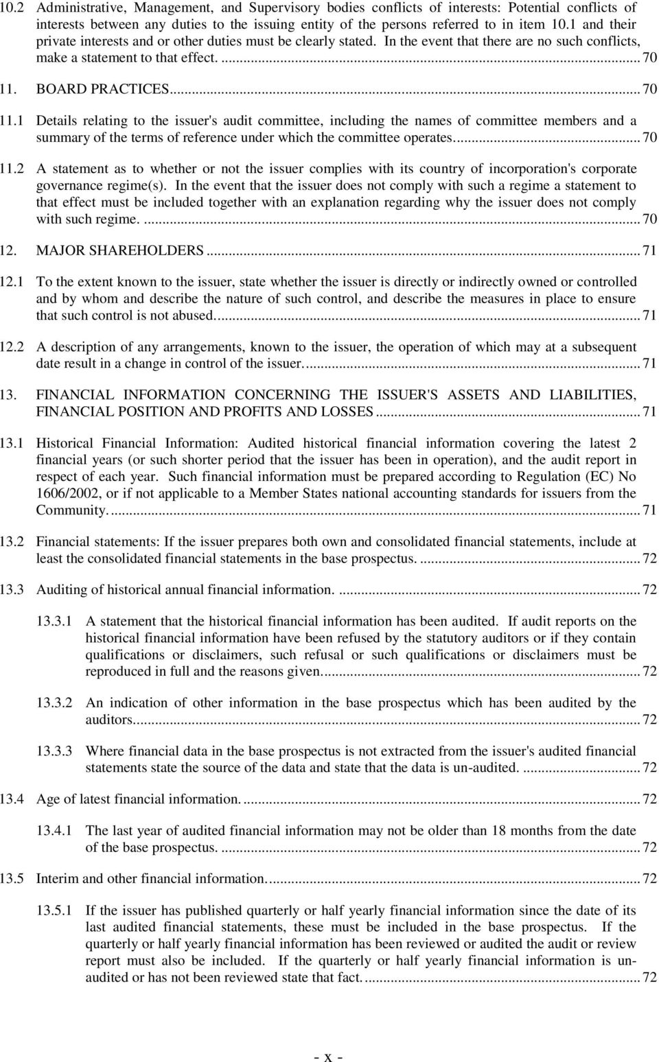 BOARD PRACTICES... 70 11.1 Details relating to the issuer's audit committee, including the names of committee members and a summary of the terms of reference under which the committee operates.... 70 11.2 A statement as to whether or not the issuer complies with its country of incorporation's corporate governance regime(s).