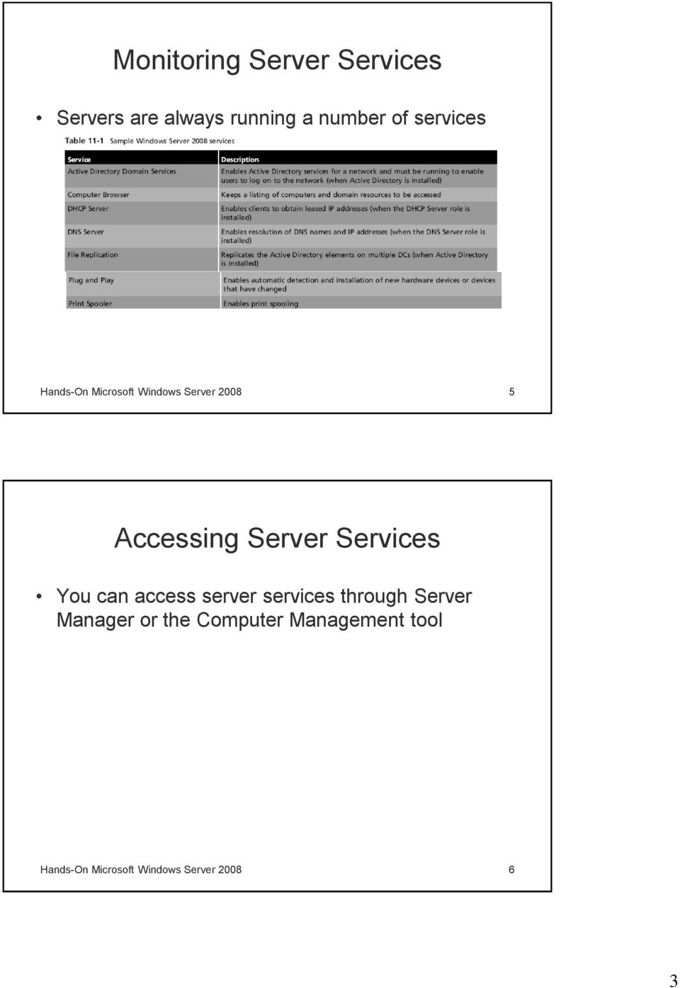 Services You can access server services through Server Manager or