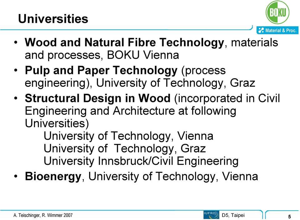 and Architecture at following Universities) University of Technology, Vienna University of Technology, Graz