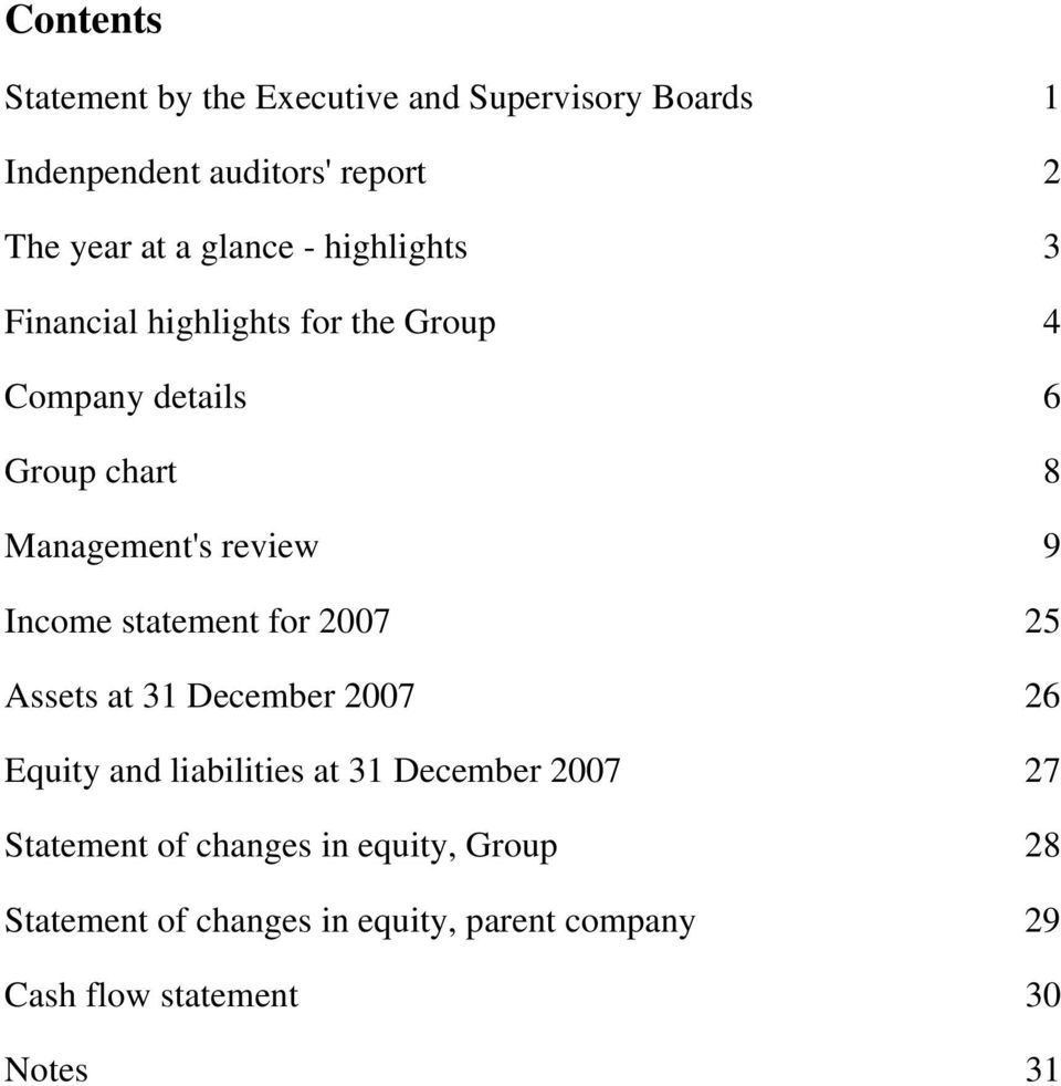 9 Income statement for 2007 25 Assets at 31 December 2007 26 Equity and liabilities at 31 December 2007 27