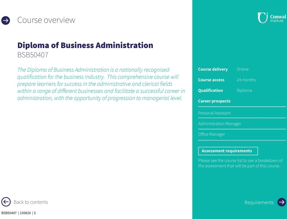 administration, with the opportunity of progression to managerial level.