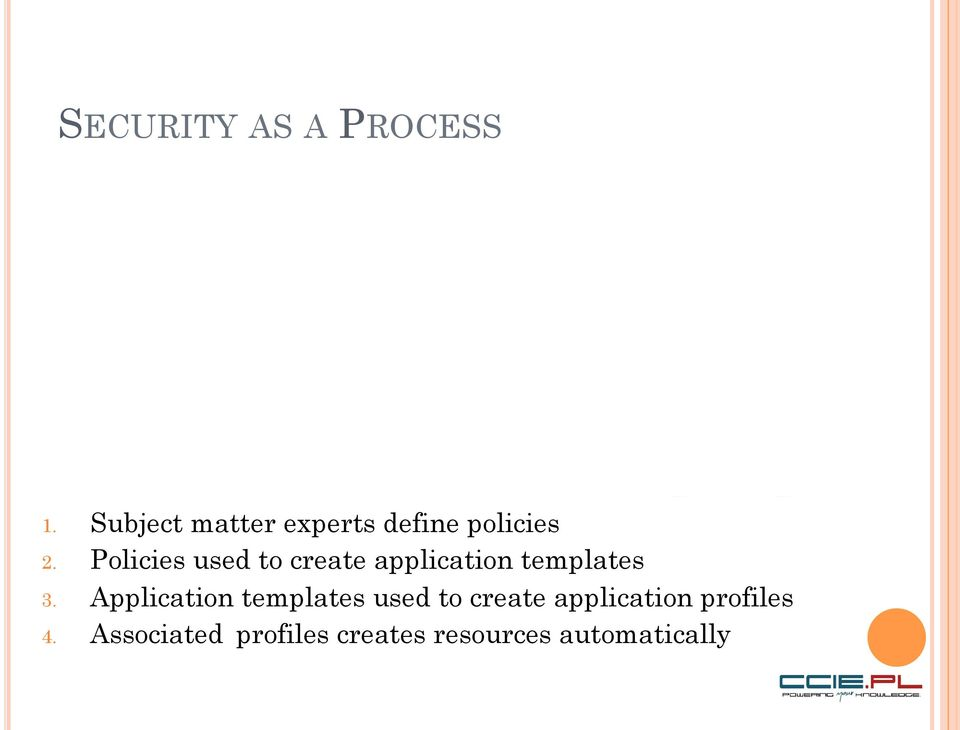 Policies used to create application templates 3.