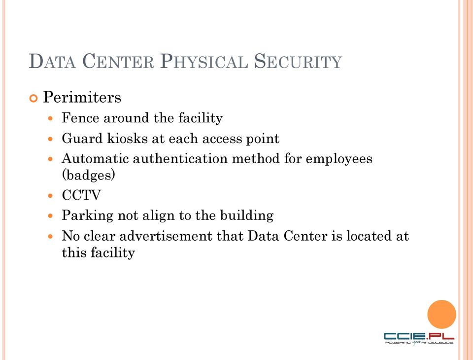 authentication method for employees (badges) CCTV Parking not