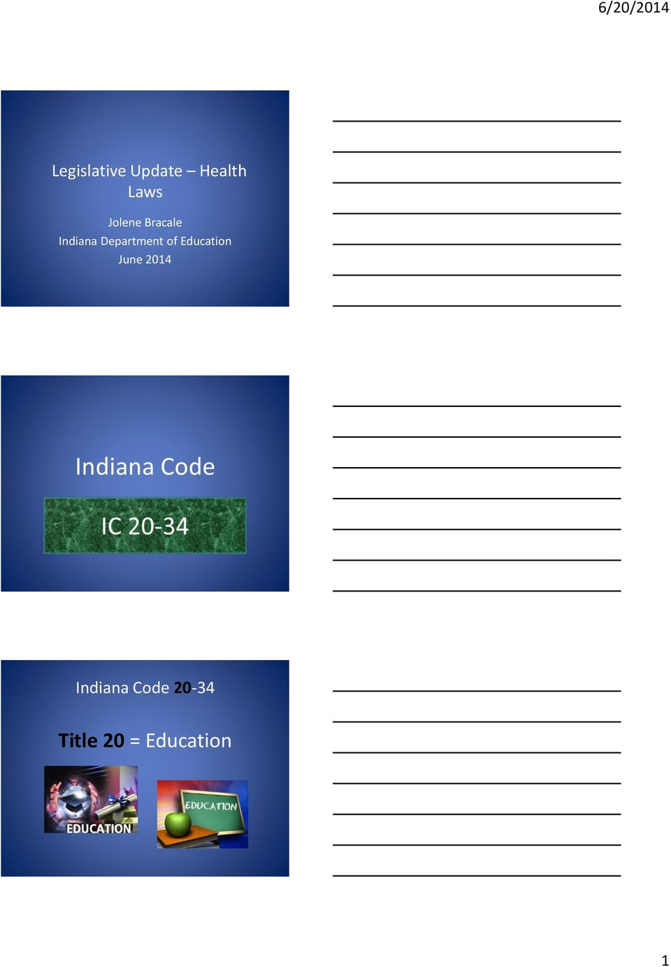 of Education June 2014 Indiana Code
