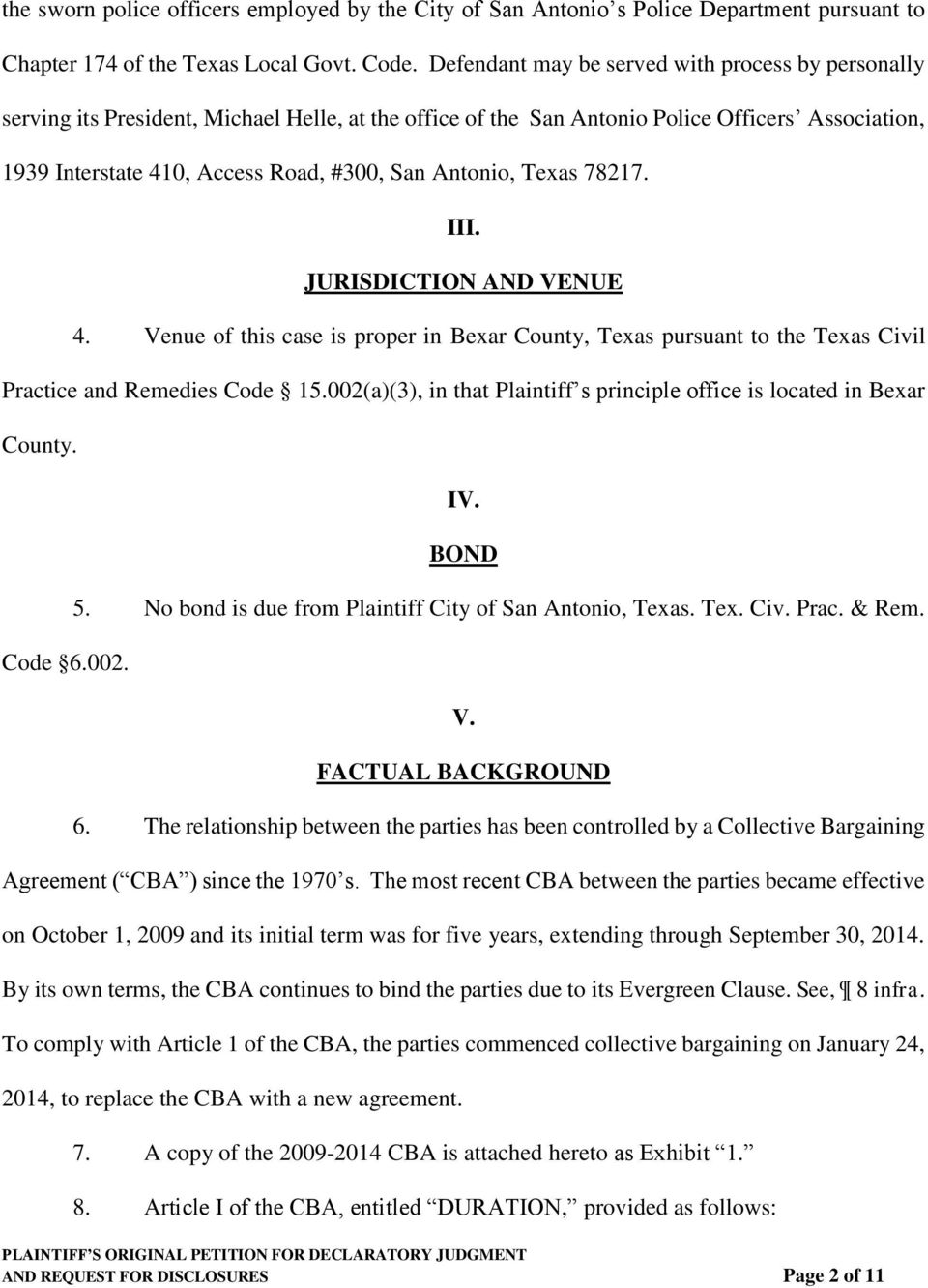 Antonio, Texas 78217. AND REQUEST FOR DISCLOSURES Page 2 of 11 III. JURISDICTION AND VENUE 4.