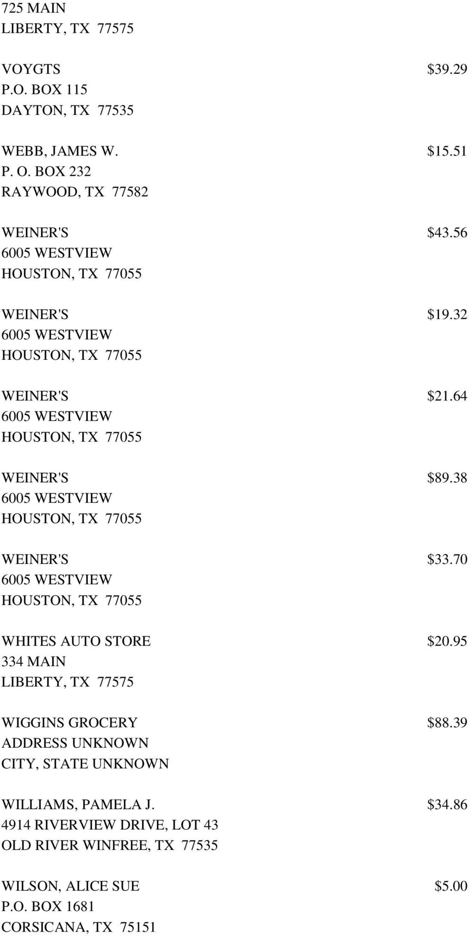 64 6005 WESTVIEW HOUSTON, TX 77055 WEINER'S $89.38 6005 WESTVIEW HOUSTON, TX 77055 WEINER'S $33.