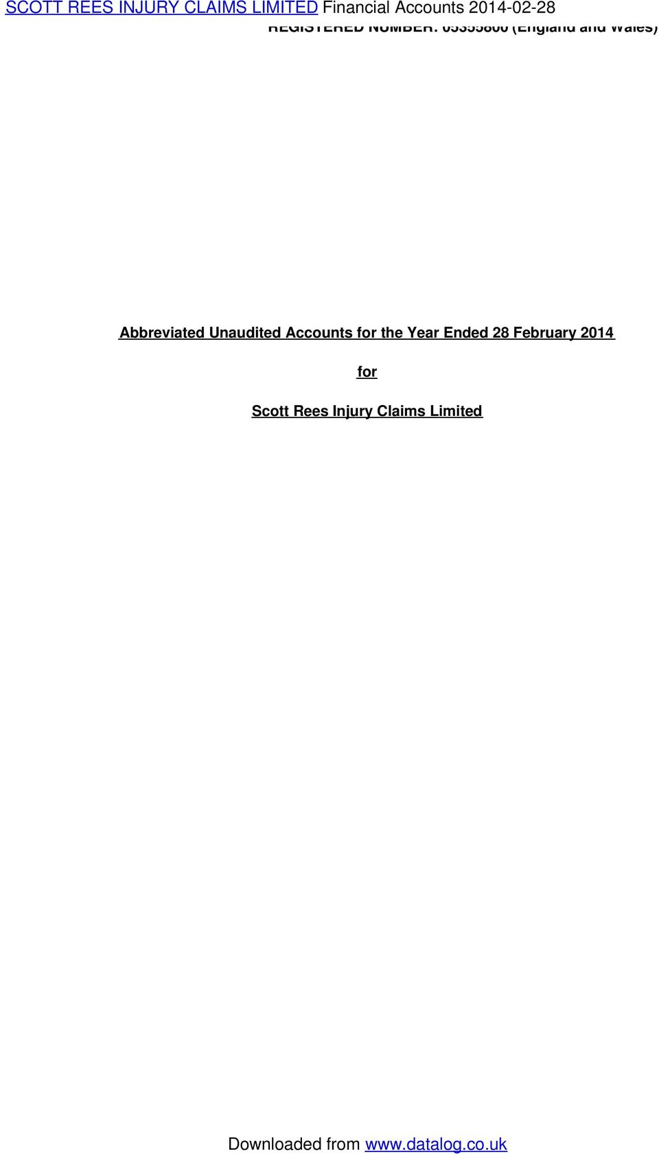 Wales) Abbreviated Unaudited Accounts for the Year
