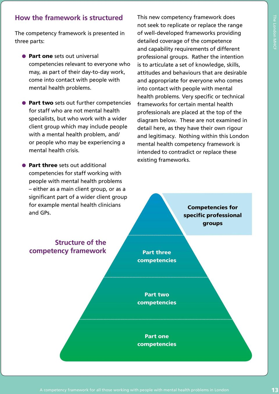 Part two sets out further competencies for staff who are not mental health specialists, but who work with a wider client group which may include people with a mental health problem, and/ or people