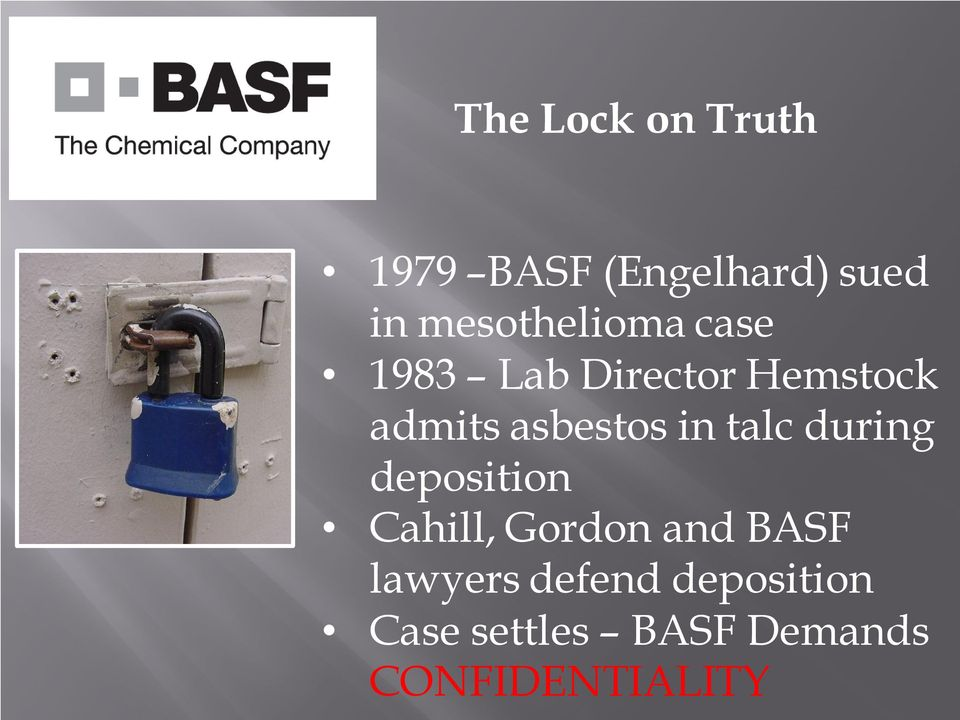asbestos in talc during deposition Cahill, Gordon and