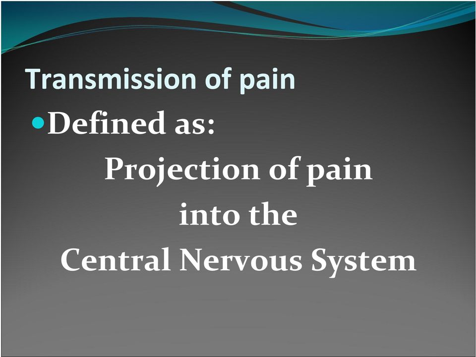Projection of pain