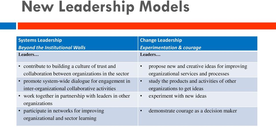 participate in networks for improving organizational and sector learning Change Leadership Experimentation & courage Leaders propose new and creative ideas for improving