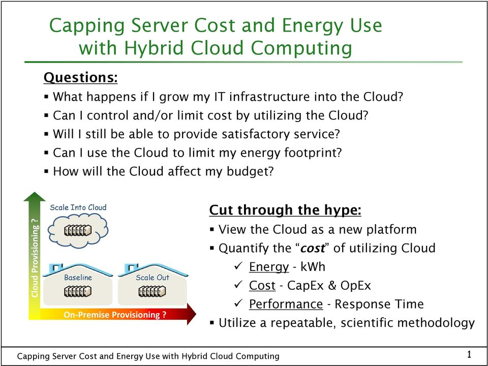 Can I use the Cloud to limit my energy footprint? How will the Cloud affect my budget? Cloud Provisioning?