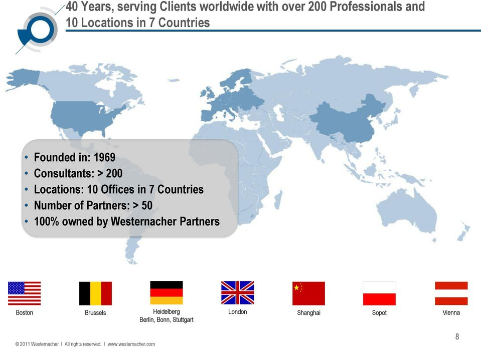 Offices in 7 Countries Number of Partners: > 50 100% owned by Westernacher