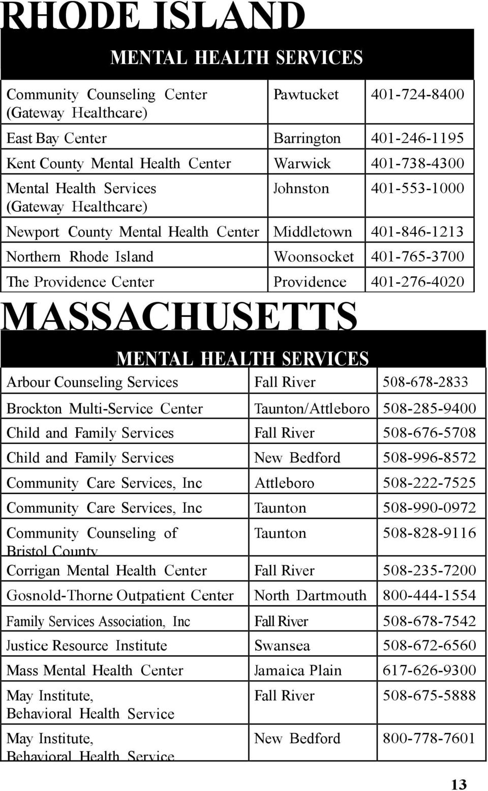 Center Providence 401-276-4020 MASSACHUSETTS MENTAL HEALTH SERVICES Arbour Counseling Services Fall River 508-678-2833 Brockton Multi-Service Center Taunton/Attleboro 508-285-9400 Child and Family