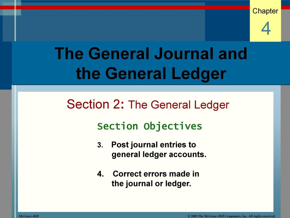 Chapter 4 The General Journal and the General Ledger Section 2: The