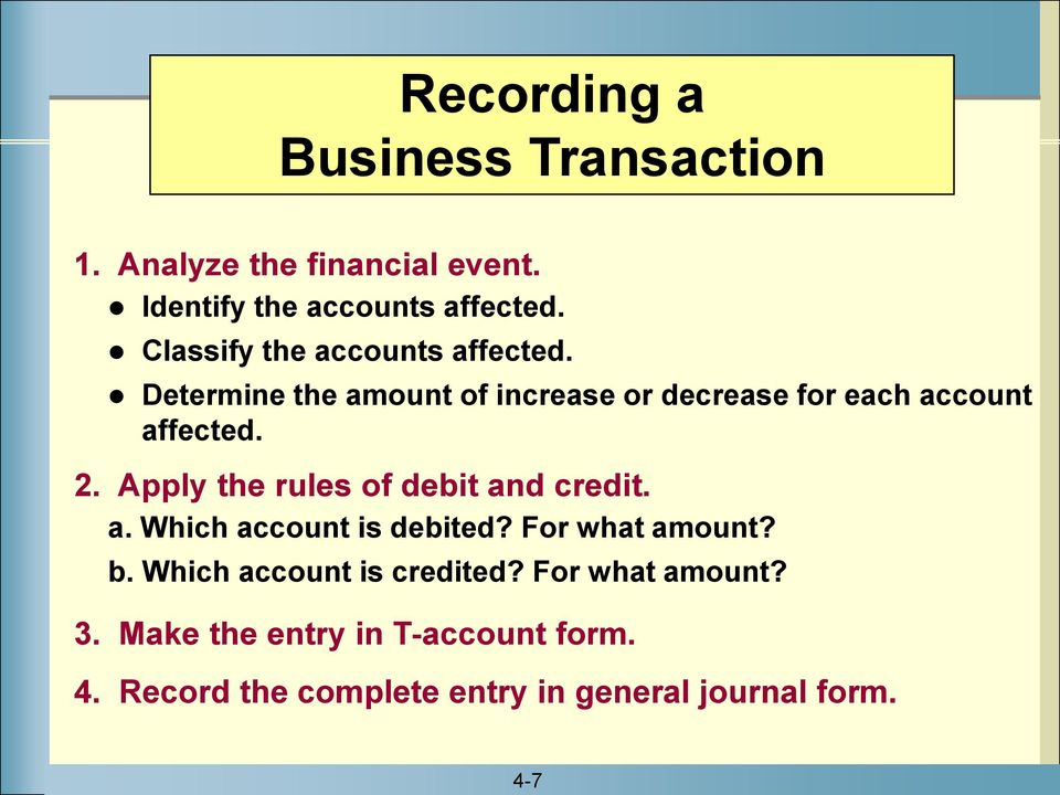 Apply the rules of debit and credit. a. Which account is debited? For what amount? b.