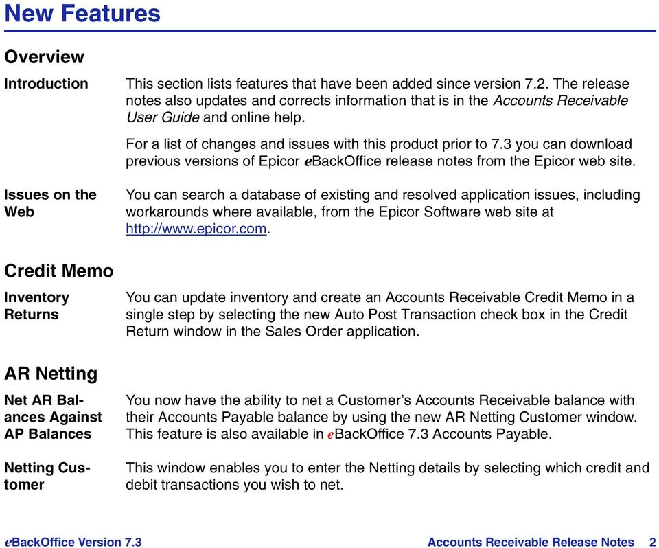 The release notes also updates and corrects information that is in the Accounts Receivable User Guide and online help. For a list of changes and issues with this product prior to 7.
