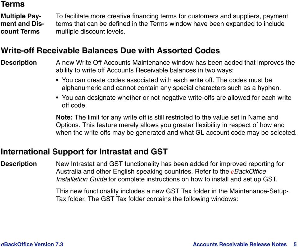 Write-off Receivable Balances Due with Assorted Codes A new Write Off Accounts Maintenance window has been added that improves the ability to write off Accounts Receivable balances in two ways: You