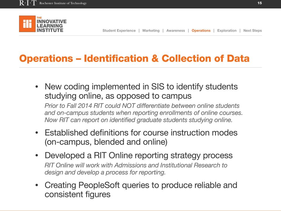 Now RIT can report on identified graduate students studying online.