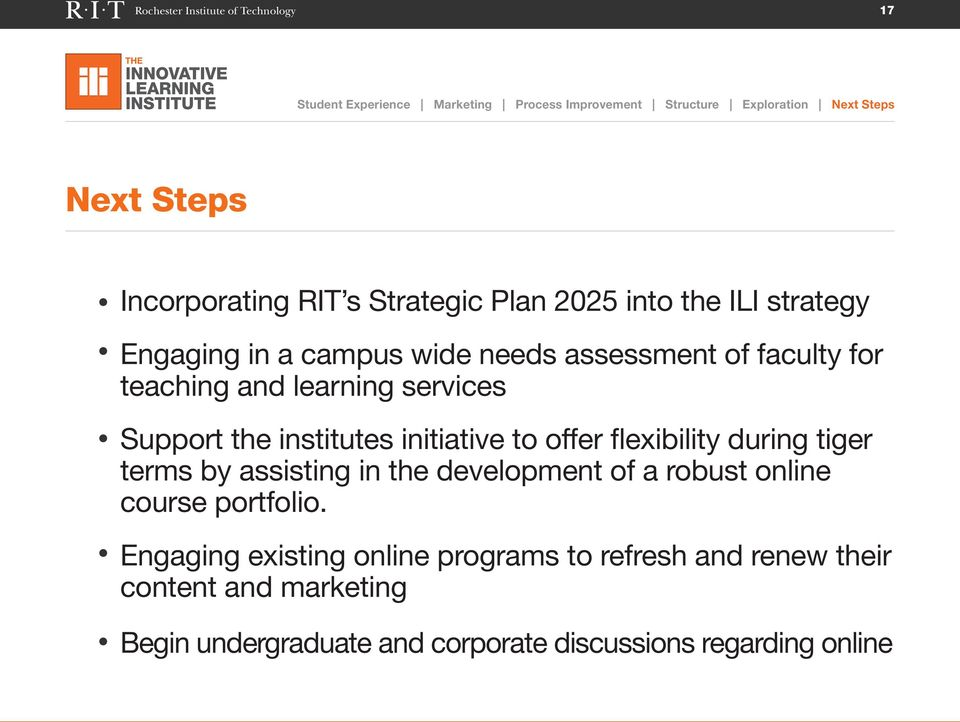 services Support the institutes initiative to offer flexibility during tiger terms by assisting in the development of a robust online course