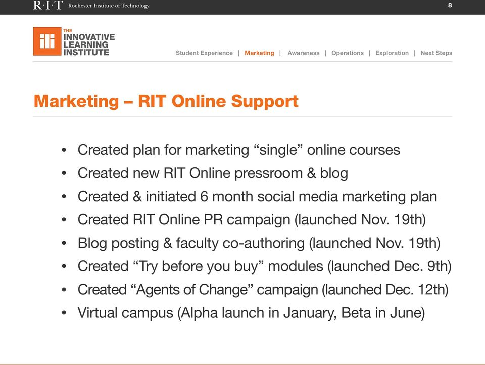 marketing plan Created RIT Online PR campaign (launched Nov. 19th) Blog posting & faculty co-authoring (launched Nov.