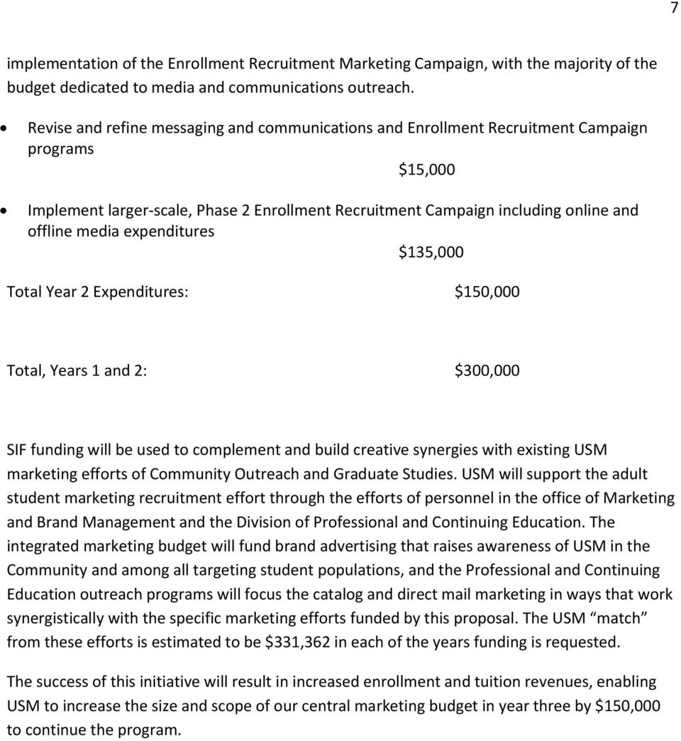expenditures $135,000 Total Year 2 Expenditures: $150,000 Total, Years 1 and 2: $300,000 SIF funding will be used to complement and build creative synergies with existing USM marketing efforts of