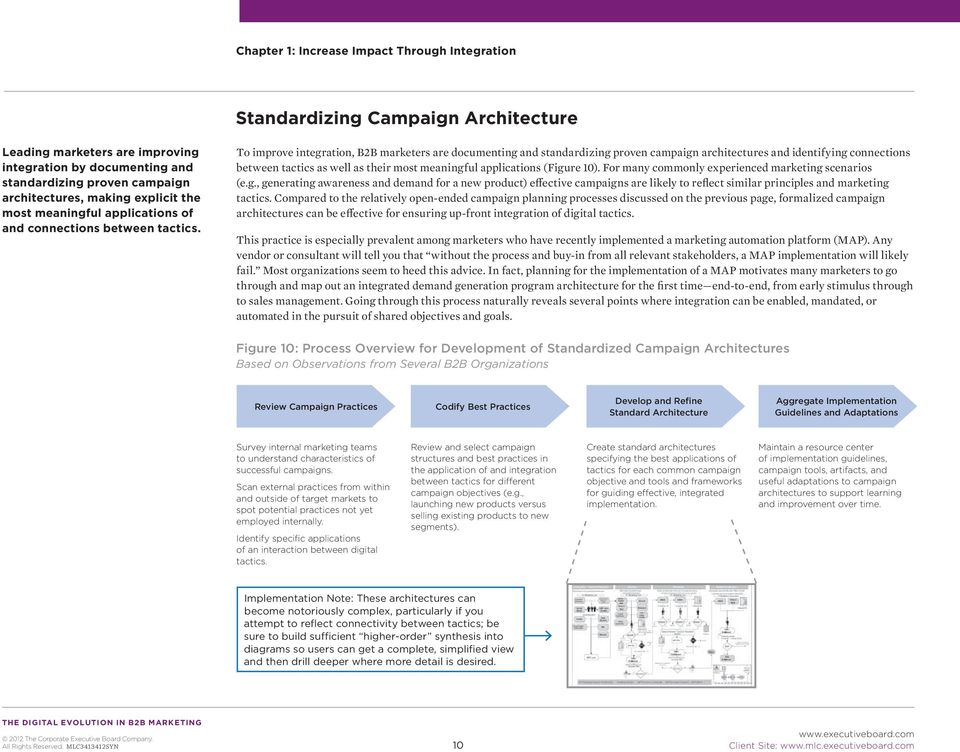 Practices into Campaign Architectures Standard Survey internal marketing teams Review and select campaign Create standard architectures ss Scenarios Step #2: Select Best Practices Step #3: Hardwire