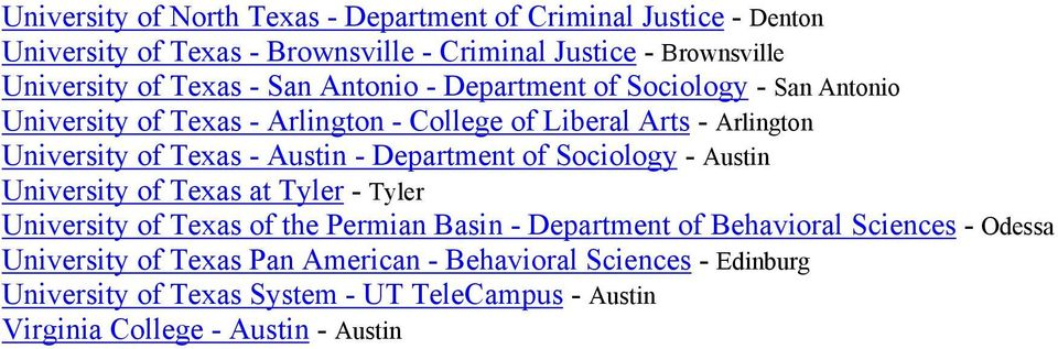 Department of Sociology - Austin University of Texas at Tyler - Tyler University of Texas of the Permian Basin - Department of Behavioral Sciences -