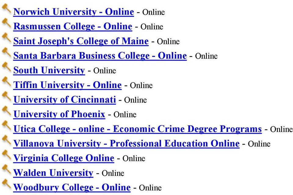 Online University of Phoenix - Online Utica College - online - Economic Crime Degree Programs - Online Villanova University -
