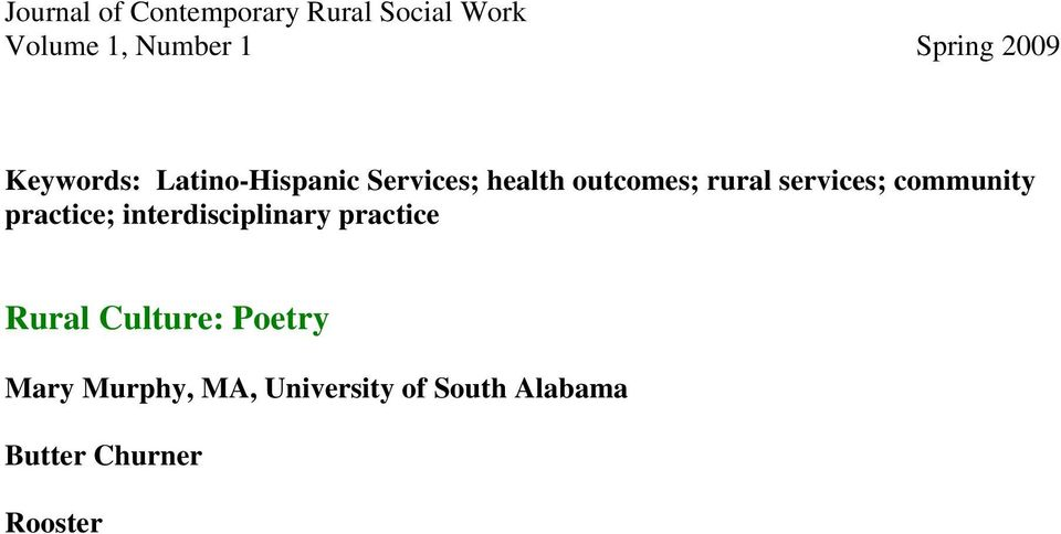 interdisciplinary practice Rural Culture: Poetry