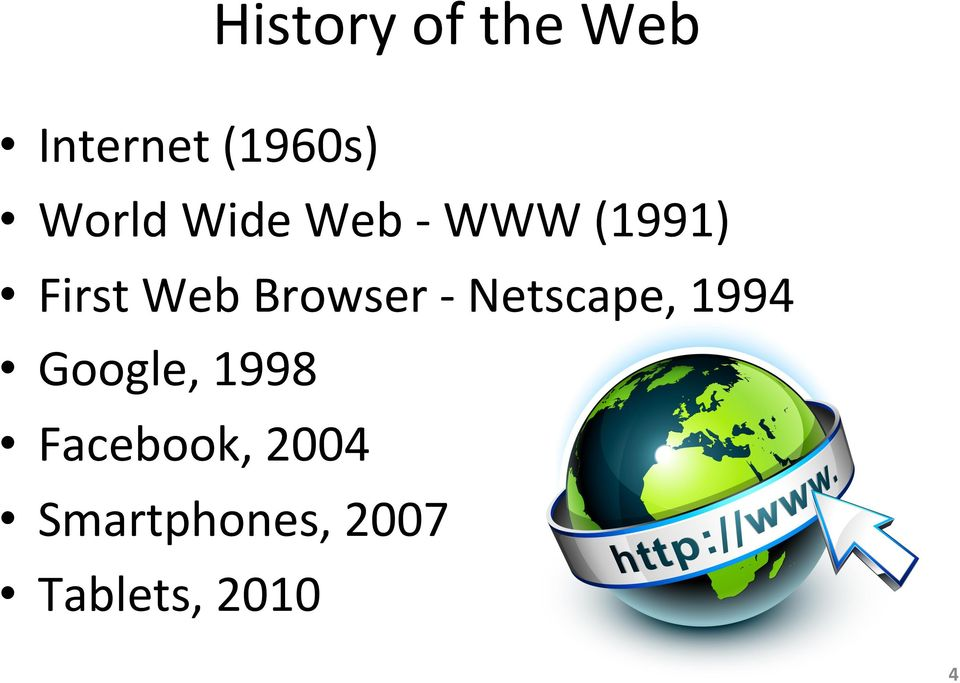 Browser - Netscape, 1994 Google, 1998