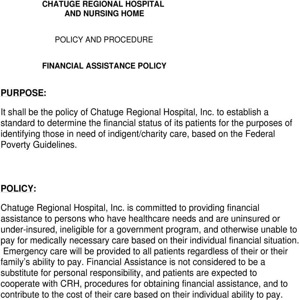 POLICY: Chatuge Regional Hospital, Inc.