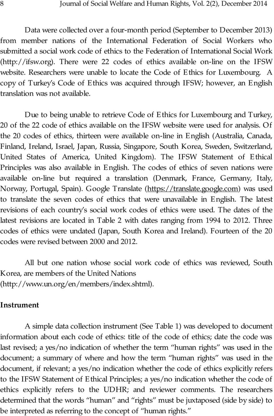 ethics to the Federation of International Social Work (http://ifsw.org). There were 22 codes of ethics available on-line on the IFSW website.