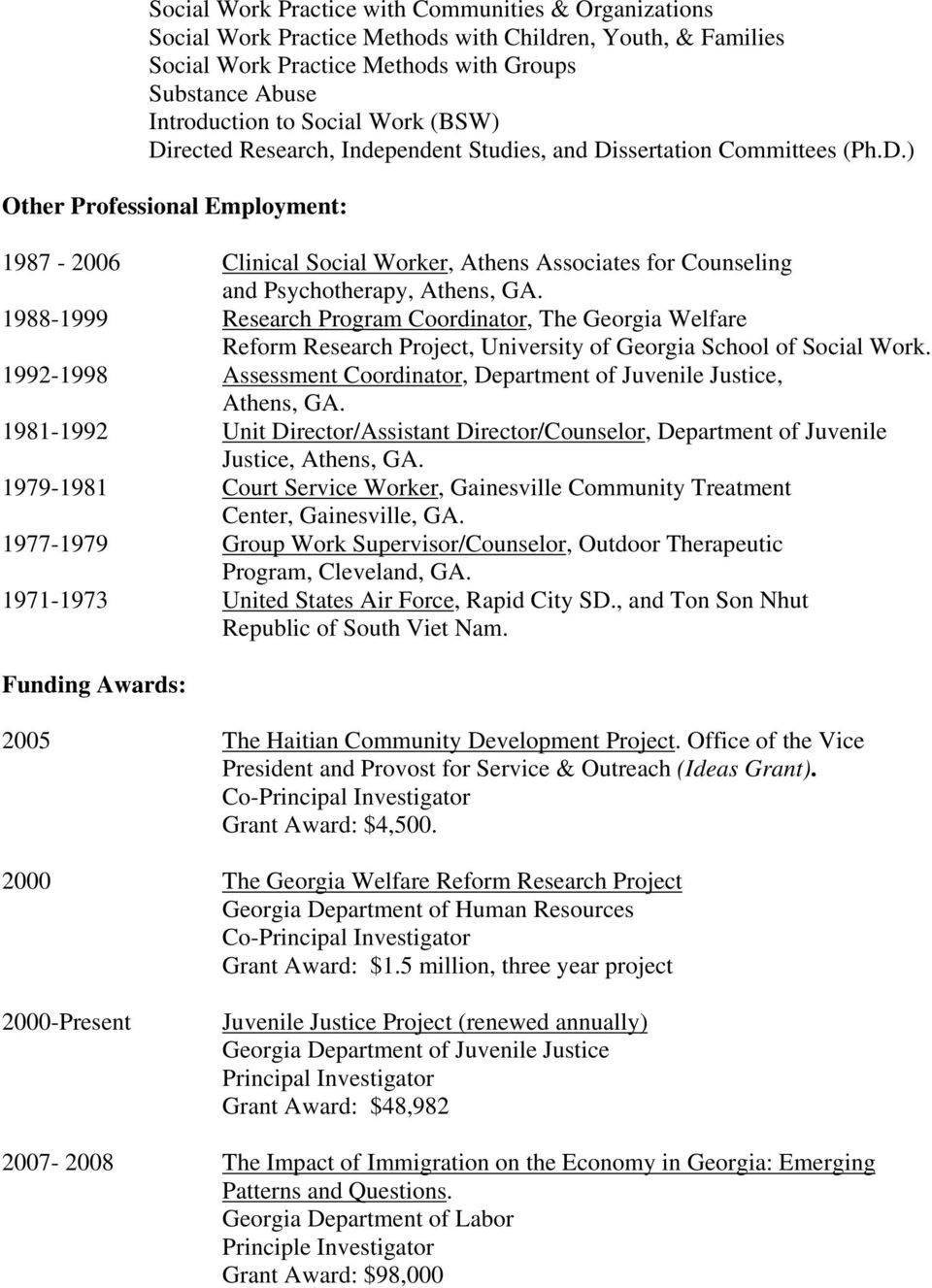 1988-1999 Research Program Coordinator, The Georgia Welfare Reform Research Project, University of Georgia School of Social Work.