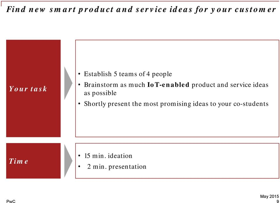product and service ideas as possible Shortly present the most