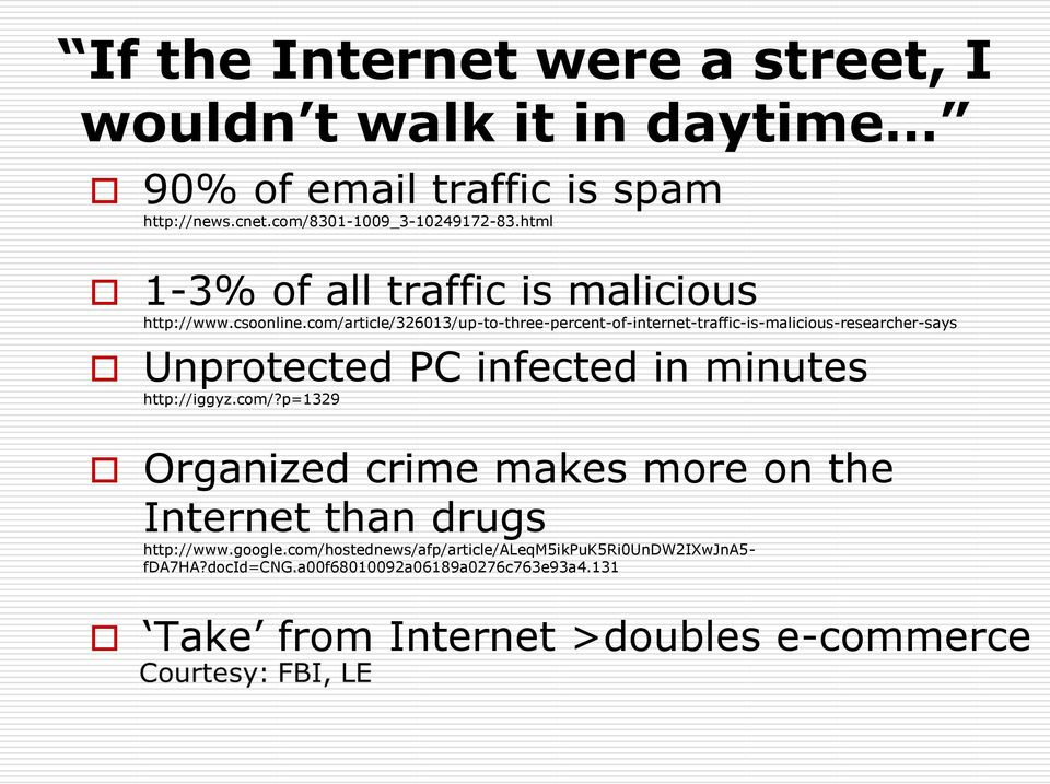 com/article/326013/up-to-three-percent-of-internet-traffic-is-malicious-researcher-says Unprotected PC infected in minutes http://iggyz.com/?p=1329 Organized crime makes more on the Internet than drugs http://www.