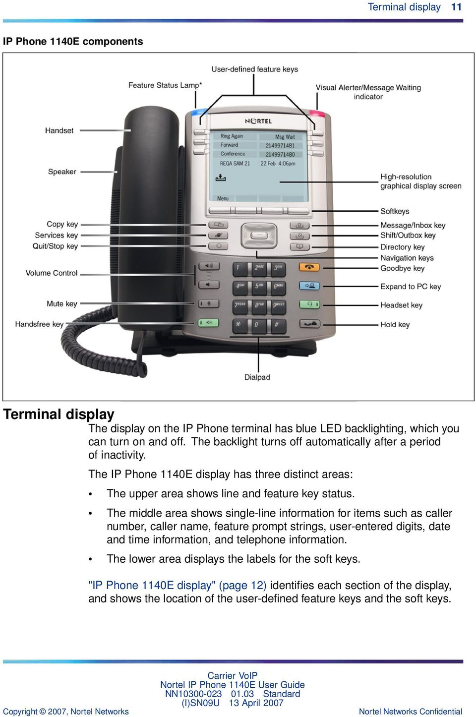information for items such as caller number, caller name, feature prompt strings, user-entered digits, date and time information, and telephone information The lower area displays the